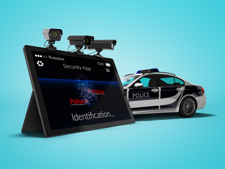 Police call concept via mobile render 3d render on blue background with shadow