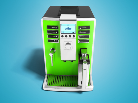 Modern green coffee machine with milk dispenser on one cup front view 3d render on blue background white shadow Stockfoto