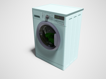 Modern blue washing machine with things in the water 3d render on gray background with shadow
