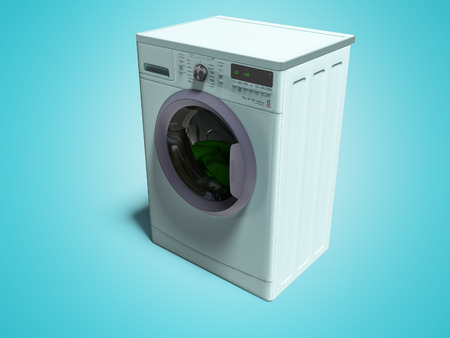 Modern blue washing machine with things in the water 3d render on blue background with shadow