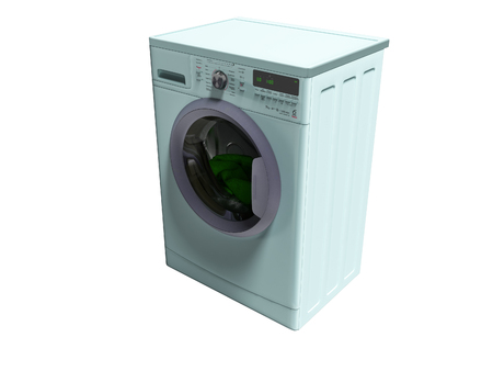 Modern blue washing machine with things in the water 3d render on white background no shadow