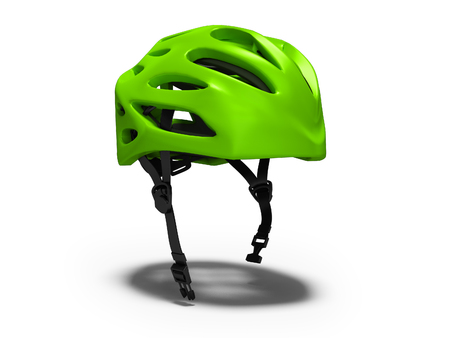 Modern green bicycle helmet for rides in the park 3d render on white background with shadow Banque d'images