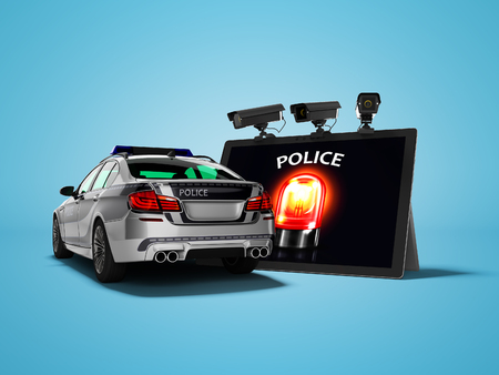 Modern concept of calling police car through the Internet 3d render on blue background with shadow