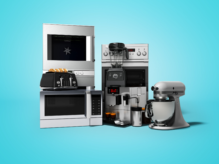 Group of household appliances for kitchen toaster coffee maker microwave food processor blender 3d render on blue background with shadow Stock Photo
