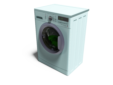 Modern blue washing machine with things in the water 3d render on white background with shadow