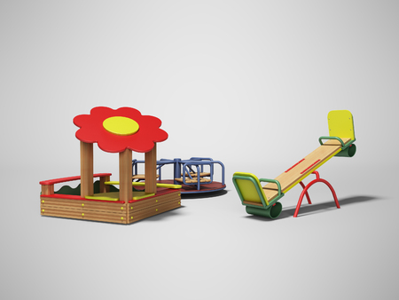 Modern wooden playground for children with sandbox and two swings 3d render on gray background with shadow