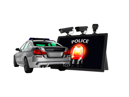 Modern concept of calling police car through the Internet 3d render on white background no shadow