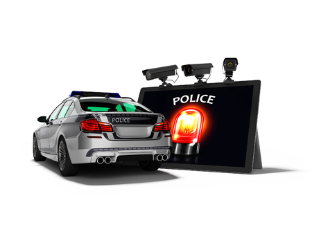 Modern concept of calling police car through the Internet 3d render on white background with shadow