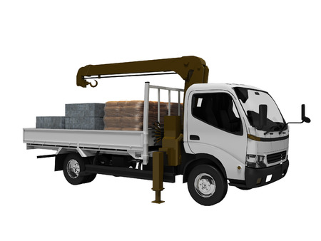 White tow truck with brown crane full of building materials 3d render on white background no shadow