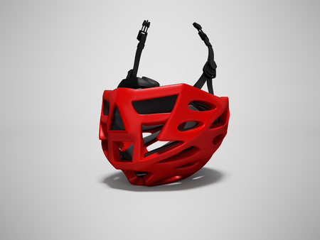 Modern red bicycle helmet for trips isolated 3d render on gray background with shadow