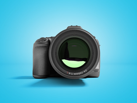 New professional zoom camera front view 3d render on blue background with shadow