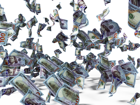 New one hundred dollars banknotes falling on the floor 3d render on white background with shadow