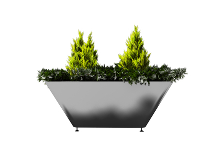 Green bush in metal pot with legs for urban landscaping 3d render on white background no shadow Banque d'images