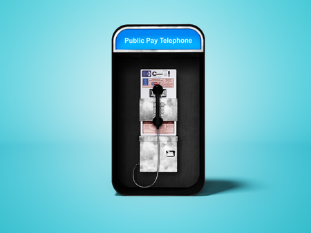 Telephone booth with landline telephone for city line 3d render on blue background with shadow