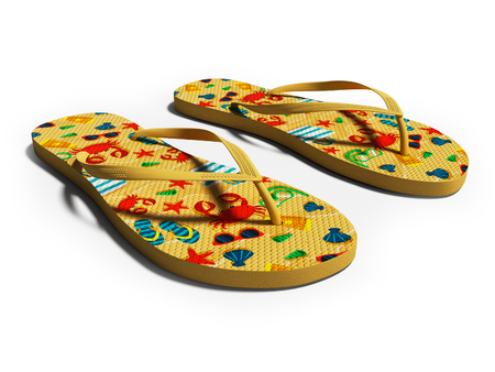 Modern beach slippers with beach animals on the sneak 3d render on white background with shadow