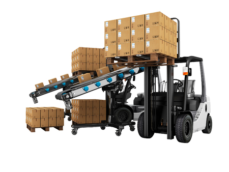 Modern loading forklift products in paper boxes on wooden pallets 3d render on white background no shadow