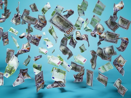 New one hundred dollars and one hundred euro banknotes fall on the floor 3d render on blue background with shadow