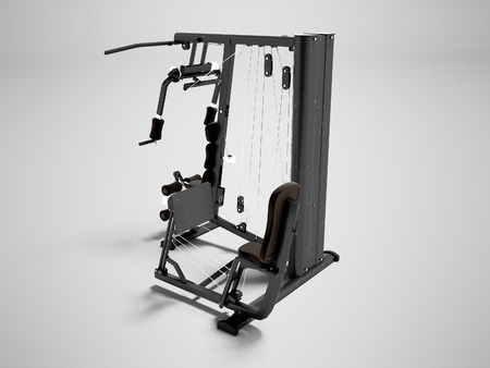 Modern sports simulator for strength training arms and legs 3d render on gray background with shadow
