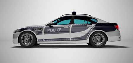 Modern police car with blue accents side view 3d render on gray background with shadow Stock Photo