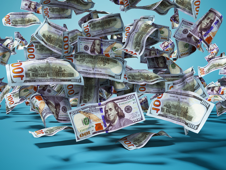 one hundred dollars banknotes falling to the ground 3d render on blue background with shadow