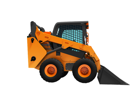 Orange mini loader with protective cabin with ladle in front for work 3d render on white background no shadow