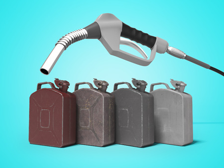 Refueling metal cans with gas station pistol 3d render on blue background with shadow Reklamní fotografie