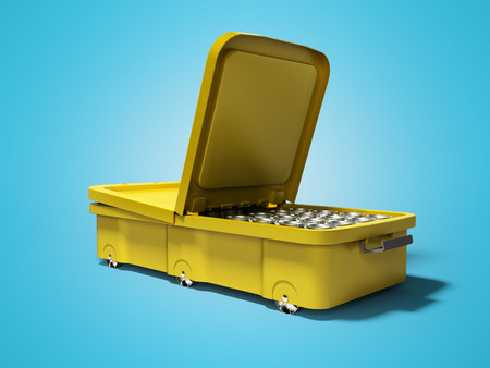 Yellow beach refrigerator for canned water open on two sides right side 3d render on blue background with shadow Imagens