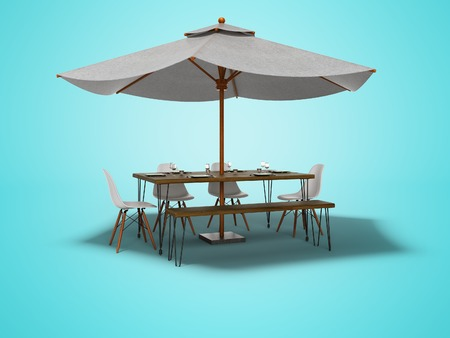 Summer restaurant umbrella with wooden table and chairs 3d render on blue background with shadow