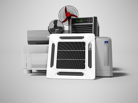 Group of office cooling equipment air conditioning fan 3d render on gray background with shadow