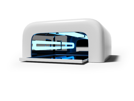 White lamp for manicure with ultraviolet light 3D render on white background with shadow 写真素材