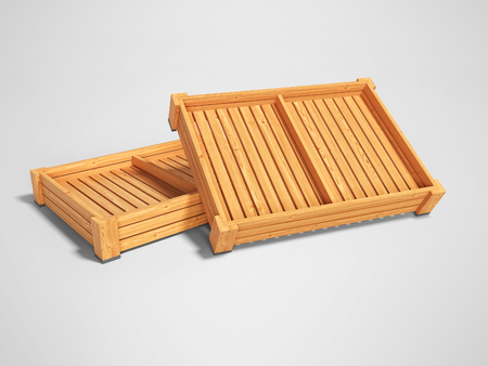 Wooden boxes pallets for the presentation of vegetables for sale 3d render on gray background with shadow Banque d'images - 120934754