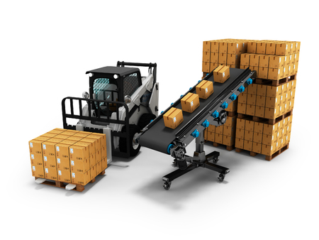 Concept of placement of goods in paper boxes with forklift from conveyor belt 3d render on white background with shadow Banco de Imagens