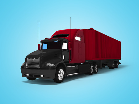 Black big truck with red trailer 3d render on blue background with shadow Archivio Fotografico