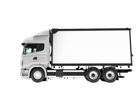 Il camion bianco con la vista laterale isolata del rimorchio 3d rende su fondo bianco senza ombra