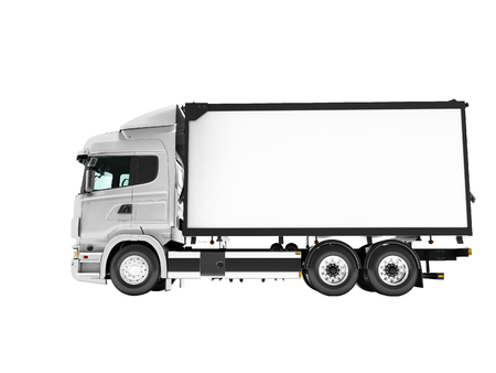 White truck with trailer isolated side view 3d render on white background no shadow
