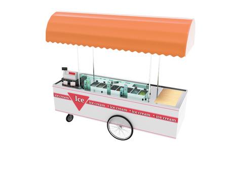 La vendita di gelato in frigorifero portatile su ruote 3d rende su sfondo bianco senza ombra Archivio Fotografico