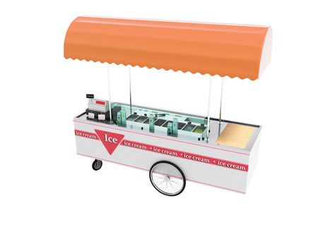 Selling ice cream in portable refrigerator on wheels 3d render on white background no shadow Reklamní fotografie