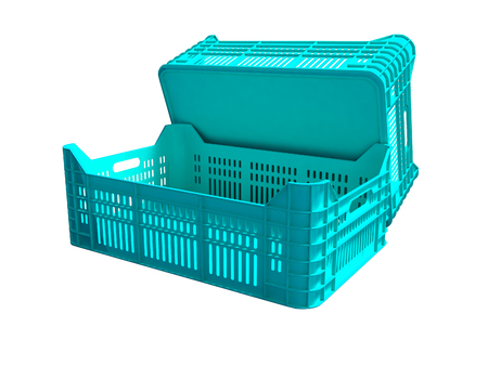 Blue plastic two boxes blank rear view 3d render on white background no shadow