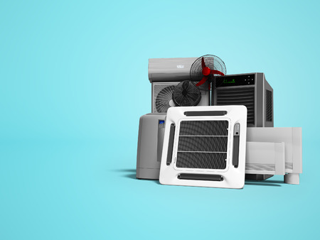 Concept set of equipment for heating and cooling of premises 3d render on blue background with shadow Banco de Imagens