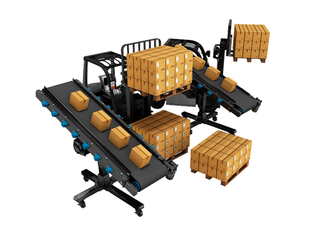 Concept of placement of goods with forklifts from the conveyor 3d render on white background no shadow Foto de archivo - 121864436
