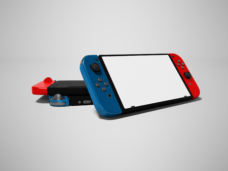 Modern red joystick gamepad connected to the phone with connection to the device 3d render on gray background with shadow