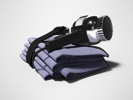 Set in hotel for drying hair dryer towels 3d render on gray background with shadow Stock fotó
