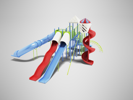 Playground for small children in the summer 3d render on gray background with shadow Stok Fotoğraf