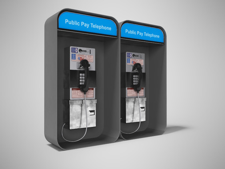 Dual phone booth black left view 3d render on gray background with shadow
