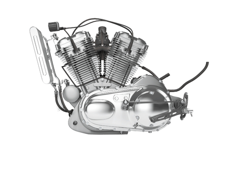 Motorcycle engine isolated left view 3d render on white background no shadow