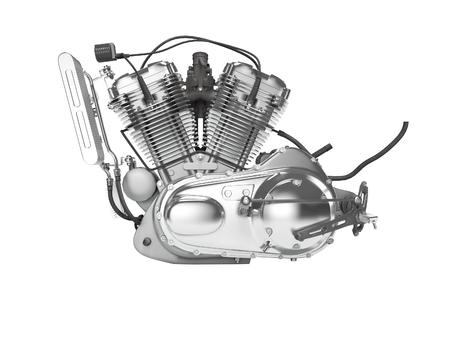 Motorradmotor isoliert linke Ansicht 3D-Rendering auf weißem Hintergrund kein Schatten