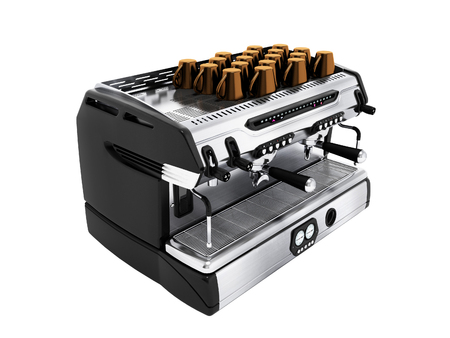 Modern metal coffee machine on chotry cup with set of 3d render cups on white background no shadow Imagens
