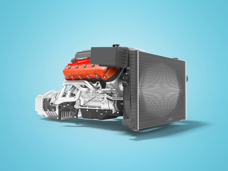 Car engine with radiator grille transmission with air filters 3d render on blue background with shadow