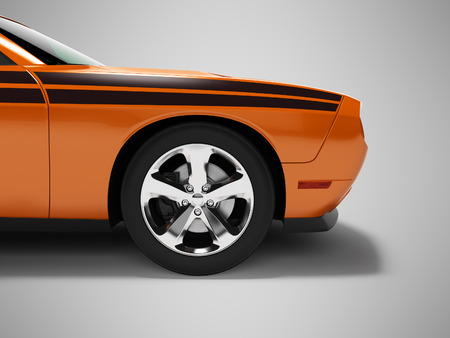 Modern concept orange sports car front 3d render on gray background with shadow