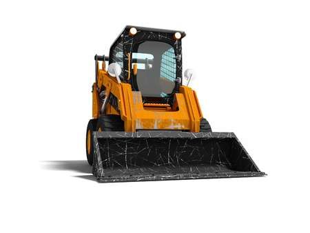 Old mini excavator with scratches on the body with bucket in front 3d render on white background with shadow